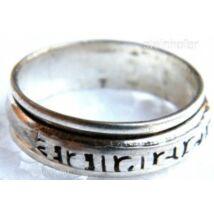 60-as méret Forgatható mantrás fehér fém gyűrű Ommanipemehung