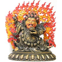 Mahakála Buddha szobor tibeti oltárra - lánggal együtt 30 cm magas!