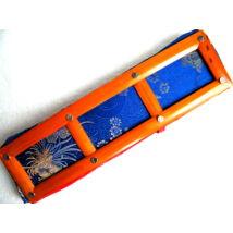 Tibeti pudzsakönyv tartó kék színű brokátból, vászonnal bélelve