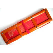 Tibeti pudzsakönyv tartó piros színű brokátból, vászonnal bélelve