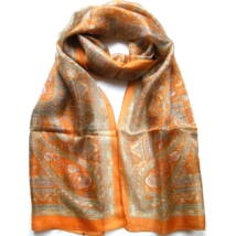 Hernyóselyem sál narancs, világosbarna és szürke színű 100% valódi selyem 50x180cm