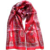 Mintás Hernyóselyem sál tűz piros, bordó és fehér színű 100% valódi selyem 50x180cm