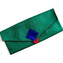 Pudzsa könyv tartó tibeti módra zöld brokátból, vászonnal bélelve
