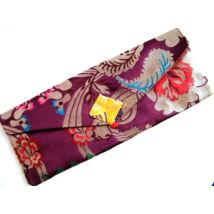 Pudzsa könyv tartó tibeti módra bordó brokátból, vászonnal bélelve