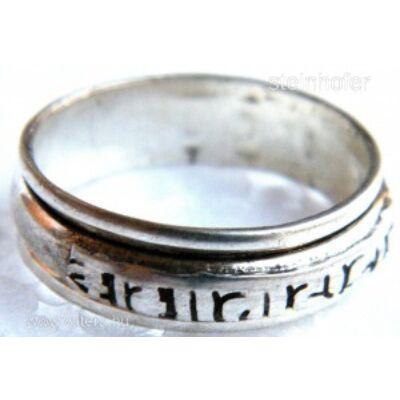 59-es méret Forgatható mantrás fehér fém gyűrű Ommanipemehung