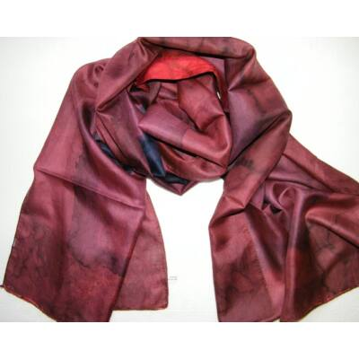 rozsdabarna-selyem-sal-batikolt-50-170-cm