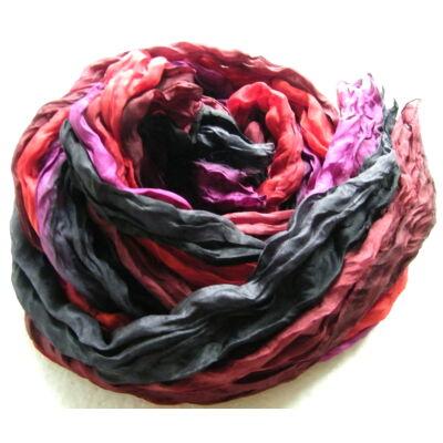 Hernyóselyem sál Sejtelmes titokzatosság füstszín vörös lila színekben 100x170cm