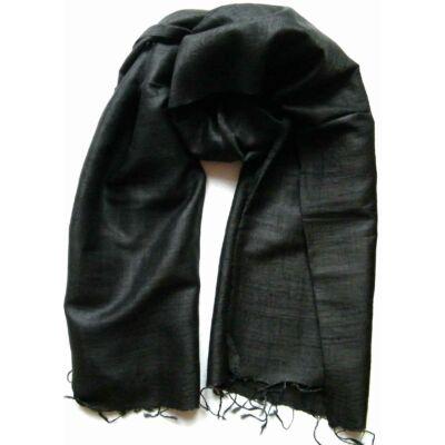 fekete nyers selyem sál