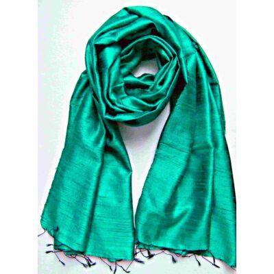 türkiz zöld nyers selyem sál