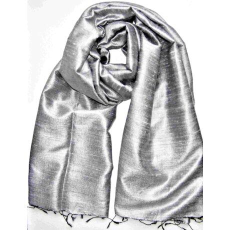 ezüst szürke ragyogo nyers selyem sál