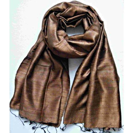 szarvasbőr-barna nyers selyem sál