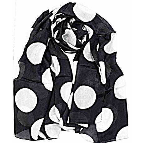 ébenfekete-acélszürke-pöttyös-selyem-sal-mintas-100x180-cm