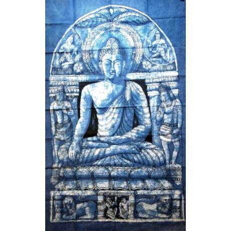 buddha-falikép-kék-kézzel-batikolt
