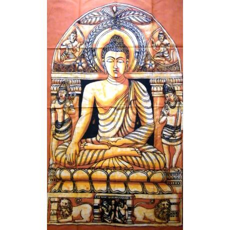 Buddha batik kép-140x90cm-es falikép sárga