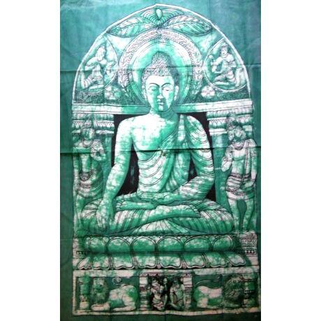 Buddha batik kép-140x90cm-es falikép zöld