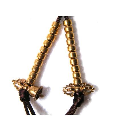 Számláló mala kiegészítő dordzse és csengő szimbólummal réz