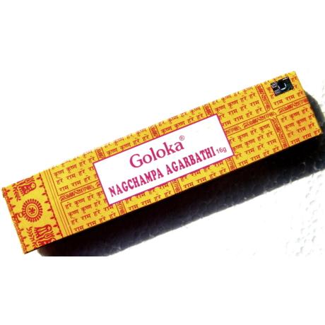 Goloka NagChampa Agarbathi eredeti indiai kézzel készített 100% növényi füstölő