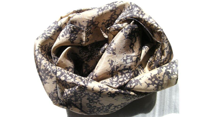 Absztrakt mintás selyem sál 100% valódi selyem szürke drapp Tibetan ... d8c4ef6631